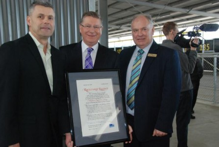 Premier and Minister for Racing Dr Denis Napthine presents Pakenham Racing Club CEO Michael Hodge and chairman Don Duffy with the first thoroughbred racecourse licence to be awarded in nearly 40 years. 124880 Picture: DAVID NAGEL