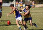 Luke Cody latches on for a tackle in Noble Park&#039;s 55-point thumping of Lilydale. 98957 Picture: JARROD POTTER