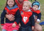 Demons' favourite son Rhys Morgan celebrated his 250th game in style on Saturday with kids Coby, 4, Ruby 2, and Judd, nine months, by his side. 100992 Picture: KEN MOORE