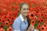 Adelle Pool remembers the fallen at Berwick Secondary College. 137964 Picture: STEWART CHAMBERS