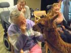 Betty Scott got a moment to meet the alpaca alongside friends John Hobbs and Dianne Walker.
