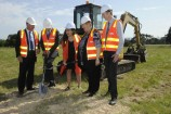 McMillan MP Russell Broadbent, Minister for Territories, Local Government and Major Projects Paul Fletcher, Eastern Victoria Region MP Harriet Shing, Baw Baw mayor Debbie Brown and VicRoads project delivery manager Ray Paterson turn the sod at Longwarry on Friday morning 9 October. 145333 Picture: STEWART CHAMBERS