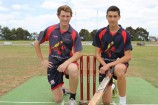 Kooweerup pair Jason Cox, left, and Mitch Davey will head to Brisbane in February for the School Sport Australia cricket championships. 147827  Picture: RUSSELL BENNETT