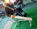 Hillview resident Ken Rowlands demonstrates the competitive benefits of using the bowling device.