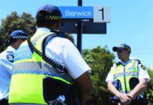 New Protective Services Officers Harpreet Sidhu and Luke DeHaan get stuck into the role at Berwick station.