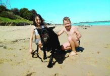 Rocky with Claire and Jay in happier times at the beach.