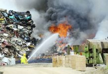 Fire crews fight the Drovers Lane fire at the CMA Recycling Plant.